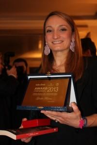 Premio Italia a Tavola 2013 a Giada Farina , il premio ricevuto a Firenze durante la Cena di Gala dal direttore Alberto Lupini e da chef e blogger famosi nel mondo della cucina
