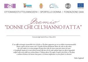 Il premio della consigliera per Pari Opportunità Annamaria Gandolfi , quest' anno e' stato assegnato a Giada Farina e Zurolo Rosy , socie de Le Torte di Giada